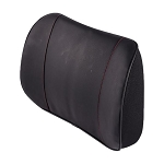 Black NAPPA Leather Lumbar Pads w/ Accent Stitching - Perforated & Non-Perforated Leather Options