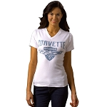 C6 Corvette 2005-2013 Ladies Crossed Flags & Shield T-Shirt