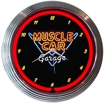 Muscle Car Garage Neon Clock