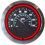 Speedometer Neon Clock - Black Face w/ Red Neon Light