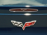 Corvette C6 5th Brake Light Trim w/ Crossed Flag Logo