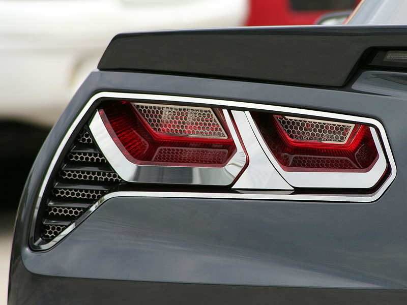 Upgrade Your Auto 8pc Brushed Stainless Steel Tail Light Trim Kit for 2014-2019 Chevy Corvette C7