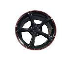 C6 Corvette Grand Sport 2005-2013 Black Red Stripe Wheel Set - 18x8.5 / 19x10