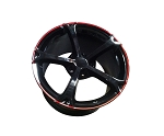 C4 C5 Corvette 1988-2004 C6 Grand Sport Style Wheel Set - Gloss Black w/ Red Stripe 17x8.5/18x9.5