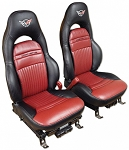 C5 Corvette 1997-2004 Embroidered 100% Leather Seat Covers - 2 Tone