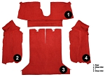 C4 Corvette 1984-1987 Coupe Cut Pile Carpet Set - Rear With Pad Options