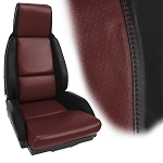 C4 Corvette 1984-1996 100% Leather 2-Toned Standard Seat Covers - Pair - w/ Option to Embroider