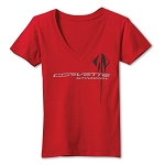 C7 Corvette Stingray 2014+ Ladies V-Neck T-Shirt With Logo & Script - Red