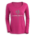 C7 Corvette Stingray 2014-2019 Ladies Glitter Long Sleeve T-Shirt - Raspberry Or Black