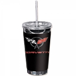 C5 Corvette 1997-2004 Crossed Flags Logo 16oz To Go Cup