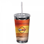 C4 Corvette 1984-1996 Crossed Flags Logo Sunset 16oz To Go Cup