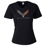 C7 Corvette Stingray 2014+ Ladies V-Neck Crossed Flags Rhinestone Shirt