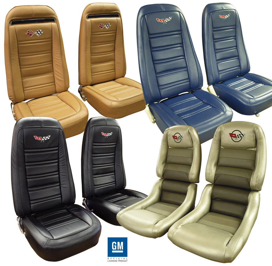 c3 corvette 1972 1982 embroidered leather seat covers. Black Bedroom Furniture Sets. Home Design Ideas
