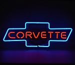 C2 C3 C4 C5 C6 C7 Corvette 1963-2014+ Red Script in Blue Chevy Bowtie Neon Sign