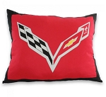 C7 Corvette 2014+ Crossed Flags Decorative Pillow