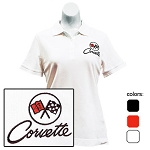 C2 Corvette 1963-1967 Ladies Embroidered Cutter & Buck Ace Polo Shirt - Black or White Available