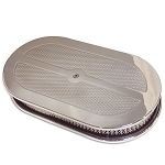 C2 C3 Corvette 1963-1982 Cast Aluminum Oval Diamond Finish 12in Air Cleaner - Multiple Finishes Available