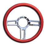 C2 C3 C4 Corvette 1963-1996 Highly Polished Launch Billet Aluminum Steering Wheel - 3 Grip Colors Available