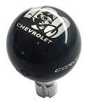 C6 Corvette 2005-2013 Black Shift Knob w/ 100th Logo & White Side Corvette Script