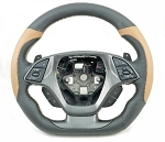 C7 Corvette Stingray/Z06/Grand Sport 2014+ Two Tone Leather D Shape Steering Wheel w/ Logo & Stitch Color Selection