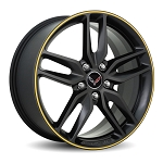 C7 Corvette Stingray 2014+ GM Satin Black Wheels w/ Colored Stripe - 19x8.5 / 20x10