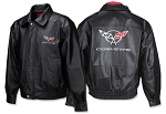 C5 C6 Corvette 1997-2013 Embroidered Leather Jacket - Long & Regular