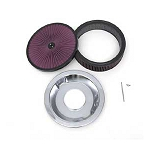 C3 Corvette 1968-1982 Super Flow 14in Air Cleaner Assembly w/ Black Edge - Wing Nut, Reusable Filter & Stud