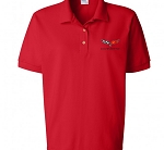 C6 Corvette 2005-2013 Crossed Flags Ladies Polo - Red