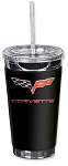 C6 Corvette 2005-2013 Crossed Flags Logo 16oz To Go Cup