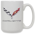 C7 Corvette 2014+ Crossed Flags Logo 15oz Coffee Mug