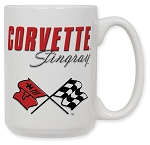 C3 Corvette 1968-1982 Crossed Flags Logo 15oz Coffee Mug - Stingray Script Option