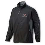 C7 Corvette 2014+ Lightweight Colorblock Full Zip Jacket - Black / Storm Gray