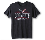 C7 Corvette 2014+ Chevrolet Corvette Crossed Flags T-Shirt - Heather Black