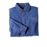 C6 Corvette 2005-2013 Embroidered Logo & Script Denim Button Down Shirt