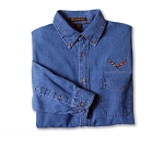 C7 Corvette 2014-2019 Embroidered Denim Button Down Shirt
