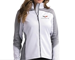 C6 Corvette 2005-2013 White & Heather Gray Knit Jacket w/ Crossed Flags Logo