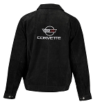C4 Corvette 1984-1996 Extra Long Suede Bomber Jacket - Black