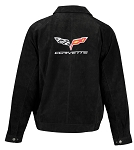 C6 Corvette 2005-2013 Extra Long Suede Bomber Jacket - Black