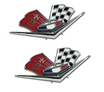 C2 Corvette 1963 Replica Front Fender Crossflags Emblems - Pair