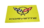 C5 Corvette 1997-2004 Crossed Flags Logo Indoor / Outdoor Banner - Yellow