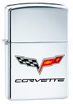 C6 Corvette 2005-2013 Crossed Flags Zippo Lighter - High Polish Chrome
