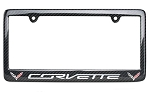 C7 Corvette 2014-2019 Carbon Fiber Double Logo & Script License Plate Frame - Multiple Color Options