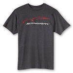 C7 Corvette Stingray 2014+ Car Gesture T-Shirt - Heather Gray