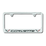 C7 Corvette 2014+ License Plate Frame W/ Double Flag Emblems - Chrome