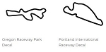 North America Track Outline Decals - Oregon - Size & Color Selection
