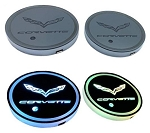 C2-C8 Corvette Rechargeable LED Car Cup Mat Pad Coaster - 2 pcs