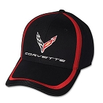 C8 Corvette 2020+ Next Generation Script and Logo Red Stripe Accent Cap