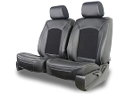 Universal Leatherette W/ Micro-Suede Plain Designed Seat Covers 2pc Double Cap W/ Head Rest Covers - Color Options