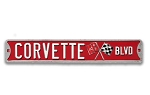 Chevrolet Corvette BLVD Embossed Tin Street Sign