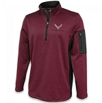 C7 Corvette 2014-2019 Roadway Maroon Quarter-Zip Men's Jacket